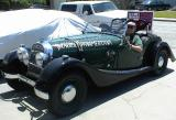 Morgan with sign, front view